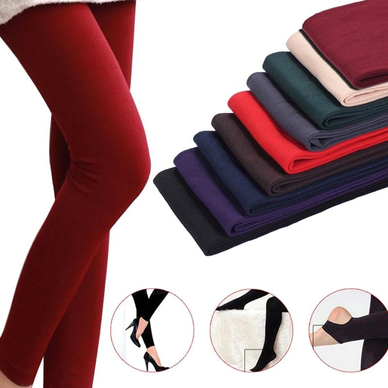 Women Autumn Winter Thick Warm Legging Brushed Lining Stretch Fleece Pants Tramp Feet Leggings  IK88