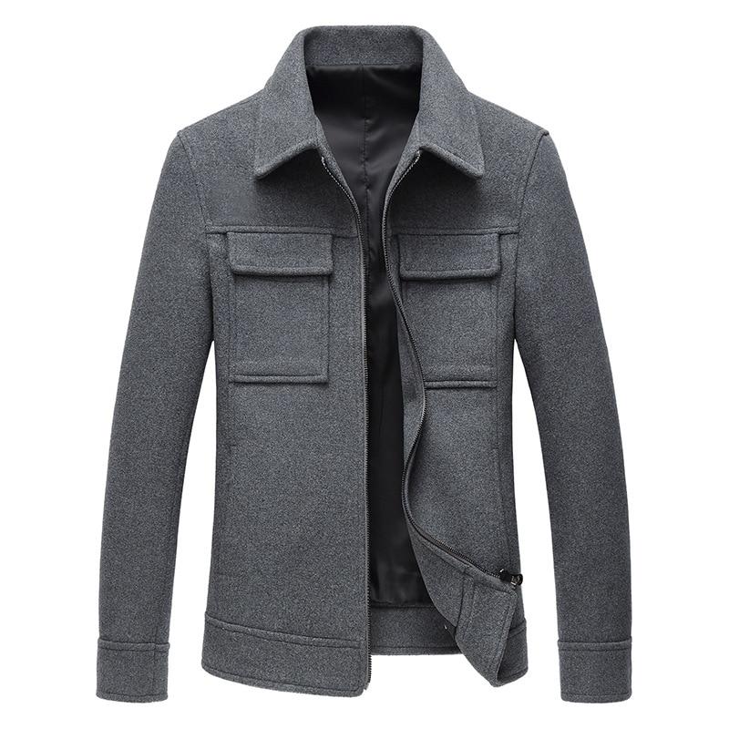 Autumn Winter Grey Woolen Coat Mens Slim Wool Jacket Long Sleeve Casual Overcoat Plus Size Blend Coat Male 3xl 4xl Overalls Men