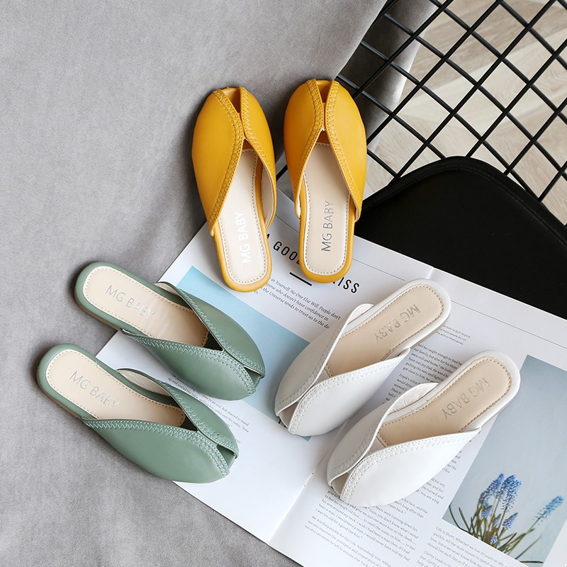 Girls Slippers 2020 Spring Summer New Kids Simple Wide Pu Princess Indoor Home Square Toe Shoes Girls Sandals Outside Girl Shoe