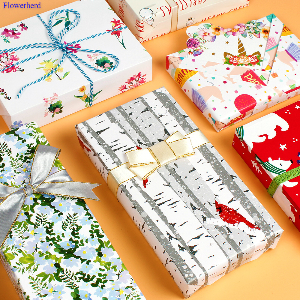 New Colored Wrapping Paper Polar Bear Forest Bird Dog Gift Paper High-end Flower Paper Christmas Paper Gift Wrapping Paper