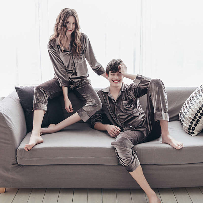 Autumn Winter Women Golden Velvet Pajamas Sets Warm Long Sleeves Pijama Homewear Thick Sleepwear Plus Size 4XL Pyjama 53