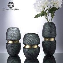 Нео-классическая ретро легкая Роскошная креативная инкрустация высококачественная матовая ваза из цветного стекла ваза для украшения интерьера