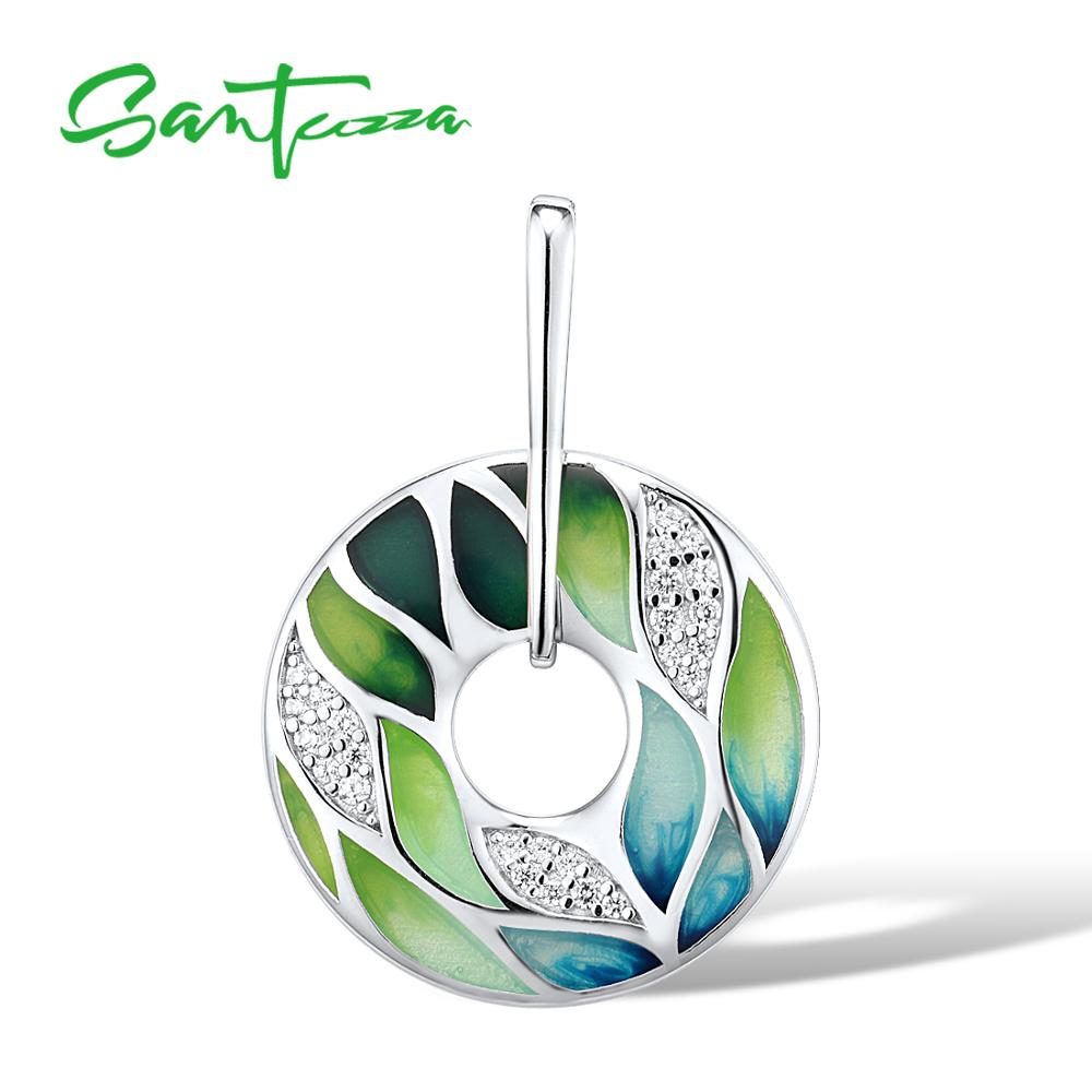SANTUZZA Silver Pendant For Women Genuine 925 Sterling Silver Green Bamboo Leaves Luminous CZ Trendy Jewelry Handmade Enamel