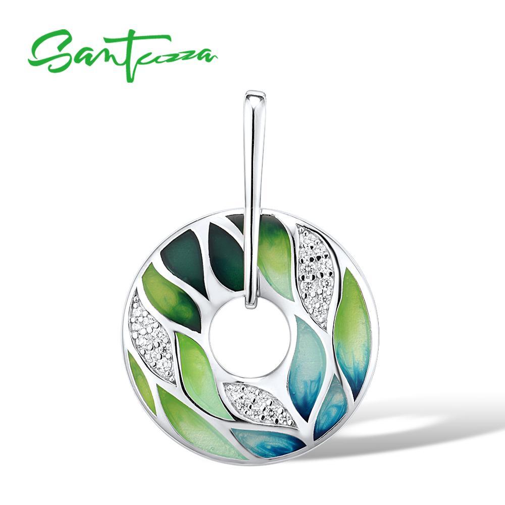 SANTUZZA Silver Pendant For Women Genuine 925 Sterling Silver Green Bamboo Leaves Luminous CZ Trendy Jewelry Handmade Enamel