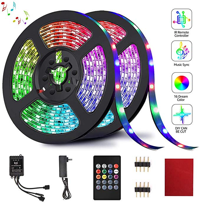 Binval RGB LED 10M Strip Lights Music Sync Color Changing 20/24/44 Key IR Remote Controller For Home Party Indoor Outdoor