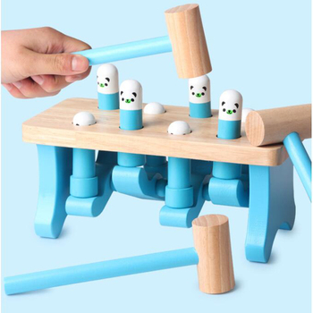 Early Childhood Learning Education Wooden Toys Old Baby Bear Hamster parent-child Interactive Game Noise Maker Toy