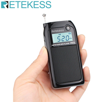 Retekess PR12 Mini Pocket Radio FM AM Digital Tuning Radio Receiver 9K/10K MP3 Music Player Rechargeable Battery Portable Radio