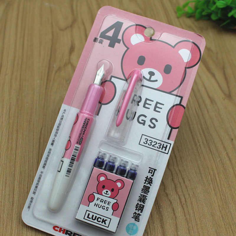 1 ปากกา + 4 ปากกาการ์ตูนสำหรับเด็กโรงเรียนเครื่องเขียนปากกาของขวัญ Erasable น้ำพุปากกาชุด 3323H