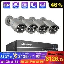 Techage cámara IP POE de 8 canales 1080P sistema NVR, 4 uds., Audio bidireccional de 2MP, corte IR para exteriores, impermeable, Kit de vigilancia de seguridad para el hogar