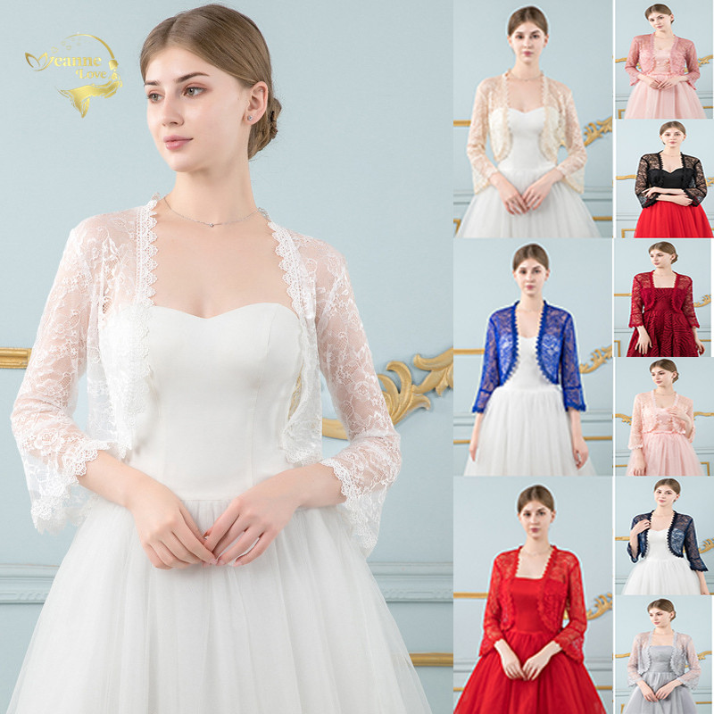 Red Lace Wedding Top Jacket Bridal Wraps Shrugs For Women For Evening Dress Bride Bolero Cape De Mariage Wedding Accessories