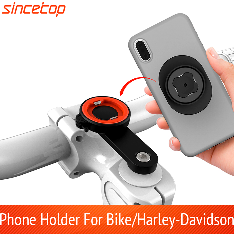 Aluminum Bicycle Phone Holder Quick Mount Rotatable Paste Adapter Mountain Bike Handlebar Stand GPS For Harley-Davidson Bracket