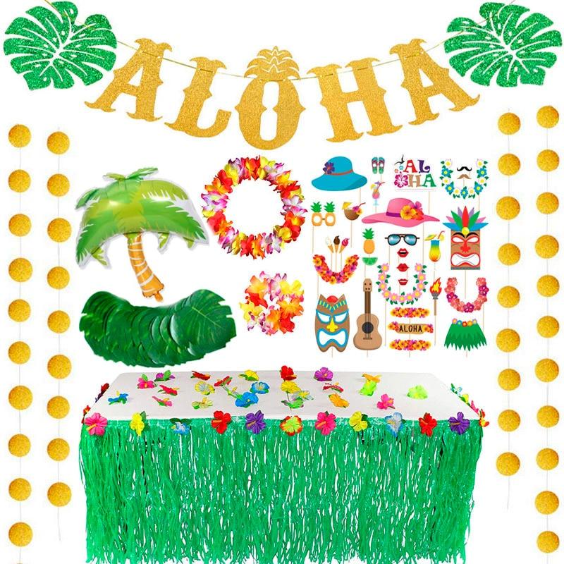 Hawaii Party Turtle Leaf Luau Flamingo Party Summer Beach Party Birthday Hawaiian Party Decor Tropical Safari Decor