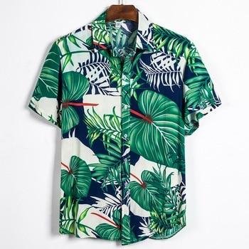 Hawaiian Shirt Men Clothes 2019 Summer Camisa Havaiana Shirts Coconut Tree Printed Short Sleeve Mens Sandy Beach Wear palm tree 1