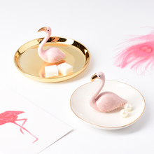 Nordic INS Home Decoration Ceramic Flamingo Jewelry Plate Dish Tray Ring Holder Animal
