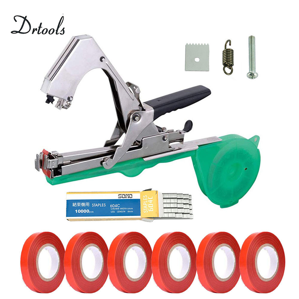 Drtools High Quality Plant Branch Hand Tying Binding Machine Flower Vegetable Garden Tapetool Tapener +Tapes Garden Tools 1set