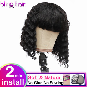Image 1 - Perruque Bob Bang pour femmes brésilienne avec frange, perruque cheveux naturels Remy, coupe courte et Pixie, Deep Wave, fait à la Machine