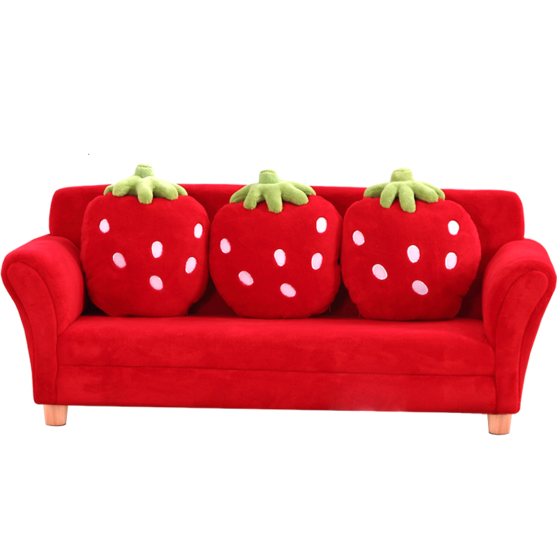 Lovely Cartoon Kids Interest Fabric Art Strawberry Sofa Group CloseThree Seat Baby Early Education Small Sofa Zitzak Bean Bag