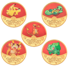 WR Pocket Monsters Gold Plated Coins Collectibles with Coin Holder Japanese Pokemon Anime Challenge Metal Coins Small Gifts