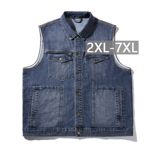 Cowboy Waistcoat Mens Jackets Brand Casual Jeans Sleeveless Jacket Vest Men Streetwear Blue Denim Cardigans Vest Plus Size 7XL