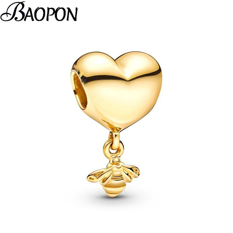 2 шт./лот, подвеска золотого цвета с сердечками и пчелами, подходит для прекрасных шармов, браслет для женщин, детей, сделай сам, модный подарок для изготовления ювелирных изделий