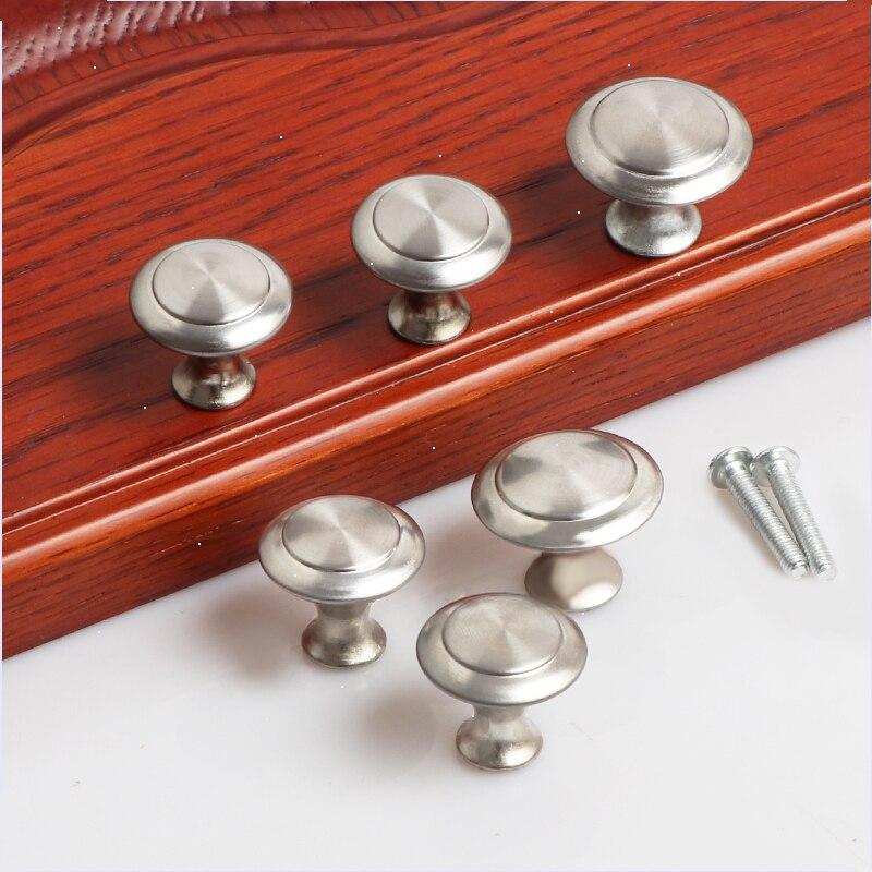 PQB Diameter 23mm 27mm Zinc Satin Nickel Cabinet Pull Cupboard Drawer Handle Knobs Wardrobe Handle With Screw Furniture Hardware