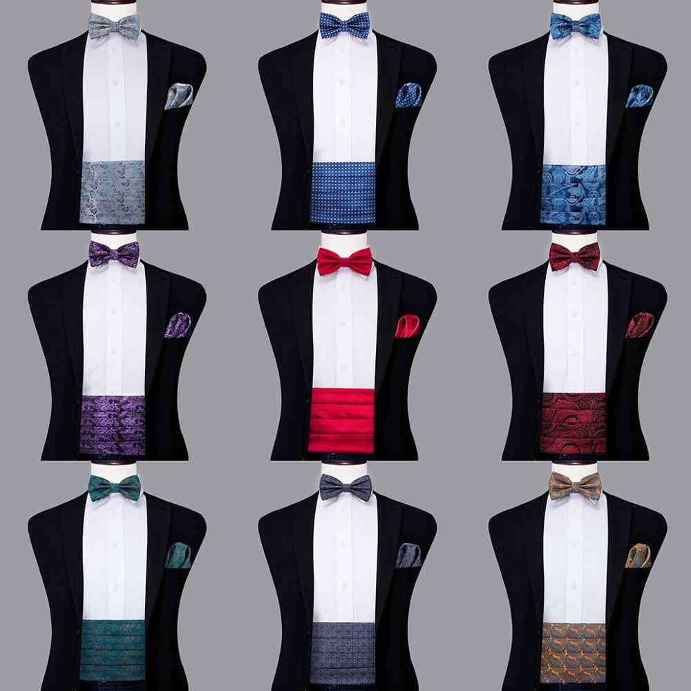 Hi Tie Luxury Silk Adult Men's Cummerbunds Gold Bow Tie Sets Hanky  cufflinks Set Formal Wedding Party Tuxedo Cummerbund Elastic|Men's Belts| -  AliExpress