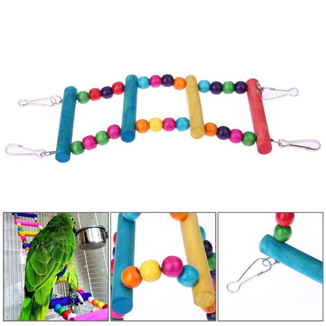 Colorful Parrot Ladder Wood Toys with Hanging Rope Parrot  2