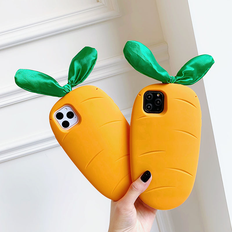 3D Cute Carrot Case For Huawei P30 P40 Honor 20 8X 9X Pro Y9 Prime 2019 P Smart Z Nova 3I 4 5T 6 4G 5G Cases Soft Silicone Cover