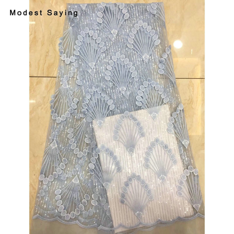 2 Yards African Sky Blue Sequined Lace Fabrics For Evening Dress 2019 Embroidered Mesh Nigerian Party Prom Net Lace Material