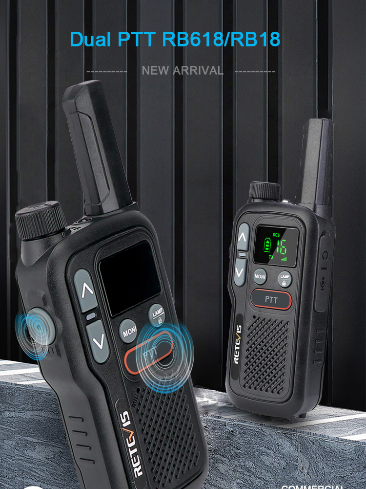Walkie-Talkie RB618 Retevis Two-Way-Radio Long-Range PMR446 Mini Rechargeable PTT Hunting