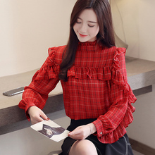 Women Tops Ruffles Long Sleeves New Chiffon Blouse Shirt Autumn 2019 Womens Plaid Fashion Stand Collar Feminine 630F