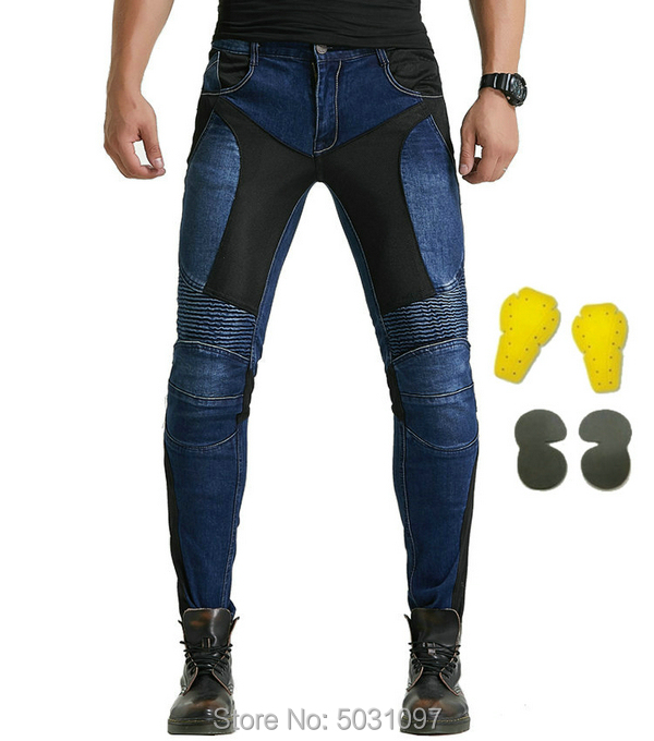Loong Biker 114-5 Summer Riding Motorcycle Pants Mesh Breathable Jeans Knight Daily Cycling Protective Slim Casual Trousers