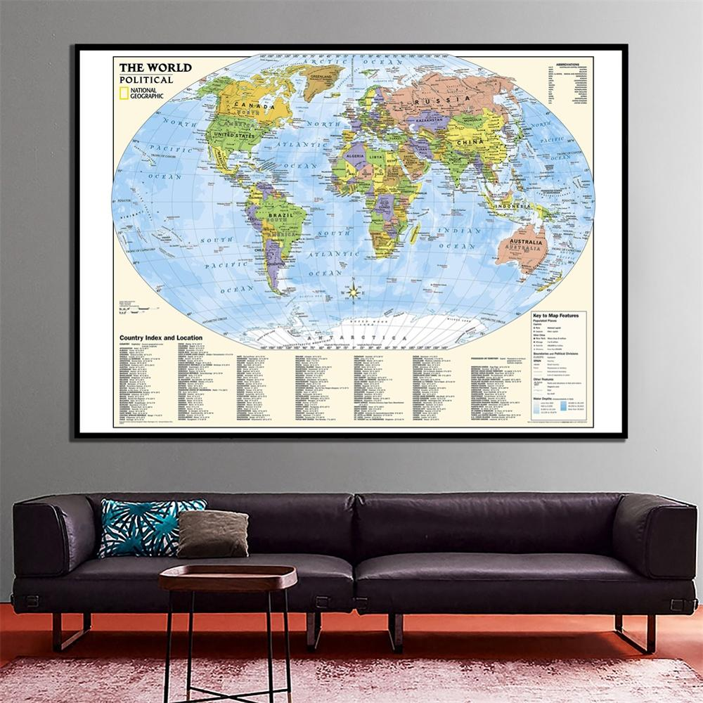 24x36 Inches The World Political Map With Country Index And Location  Fine Canvas Painting For  Wall Decoration