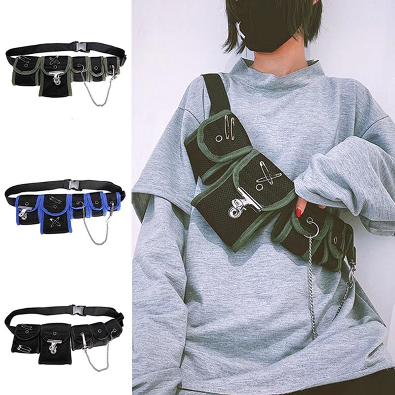 Fashion Unisex Hip Hop Chest Fanny Pack Travel Phone Belt Mesh Bag Waist Pack Adjustable Chain Casual Black Hip Hop Waist Bags