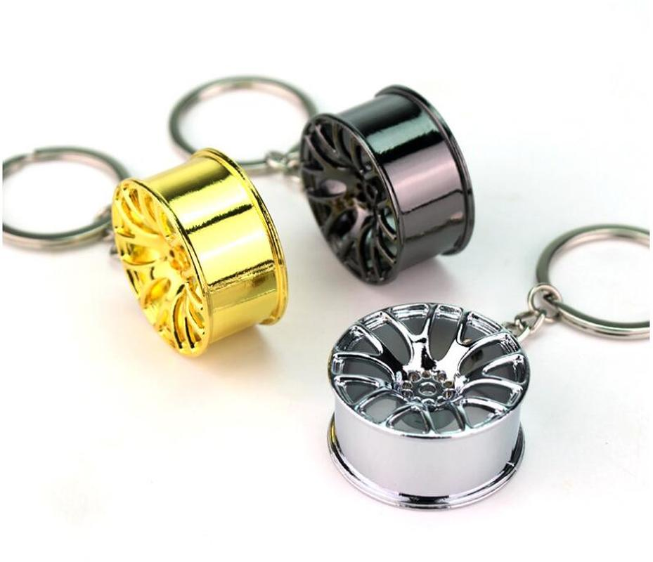 FREE Creative Car Wheel Rim Turbo Metal Pendant Keychains Gift For Men Keyring Hanging Decoration Car Key Chain Key Ring Trinket