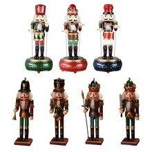 Madeira nutcracker soldado boneca caixa de música crianças brinquedo artesanato casa decoração natal