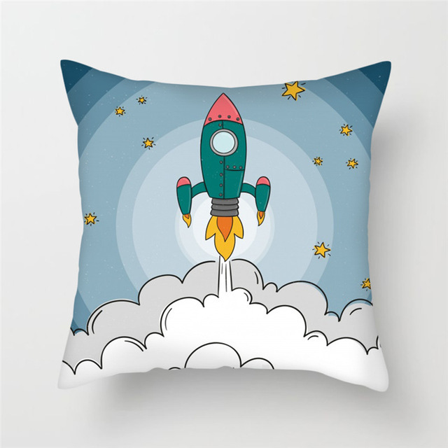 Cartoon Spacecraft Cushion Cover   1