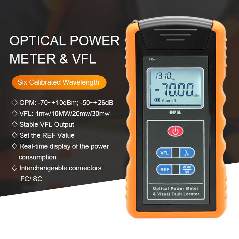 2 in 1 fuctions TM203N-A-V10 VFL Power Meter 10mw VFL & OPM Optical Power Meter 650nm 6 wavelength -70+10dBm, -50+26dBm
