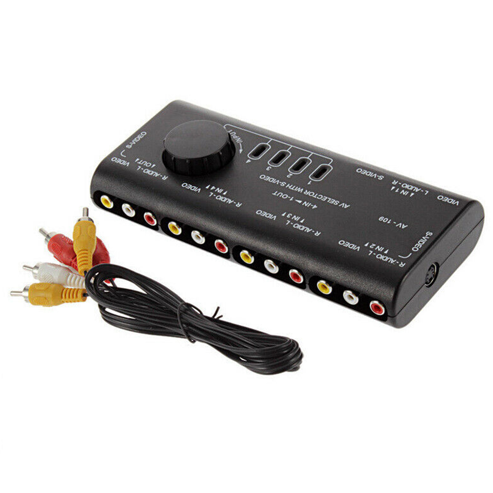 Home Anti Interference Audio Video Stable 4 In 1 Out Portable Signal Splitter Selector Distributor RCA Switch Box Easy Apply ABS