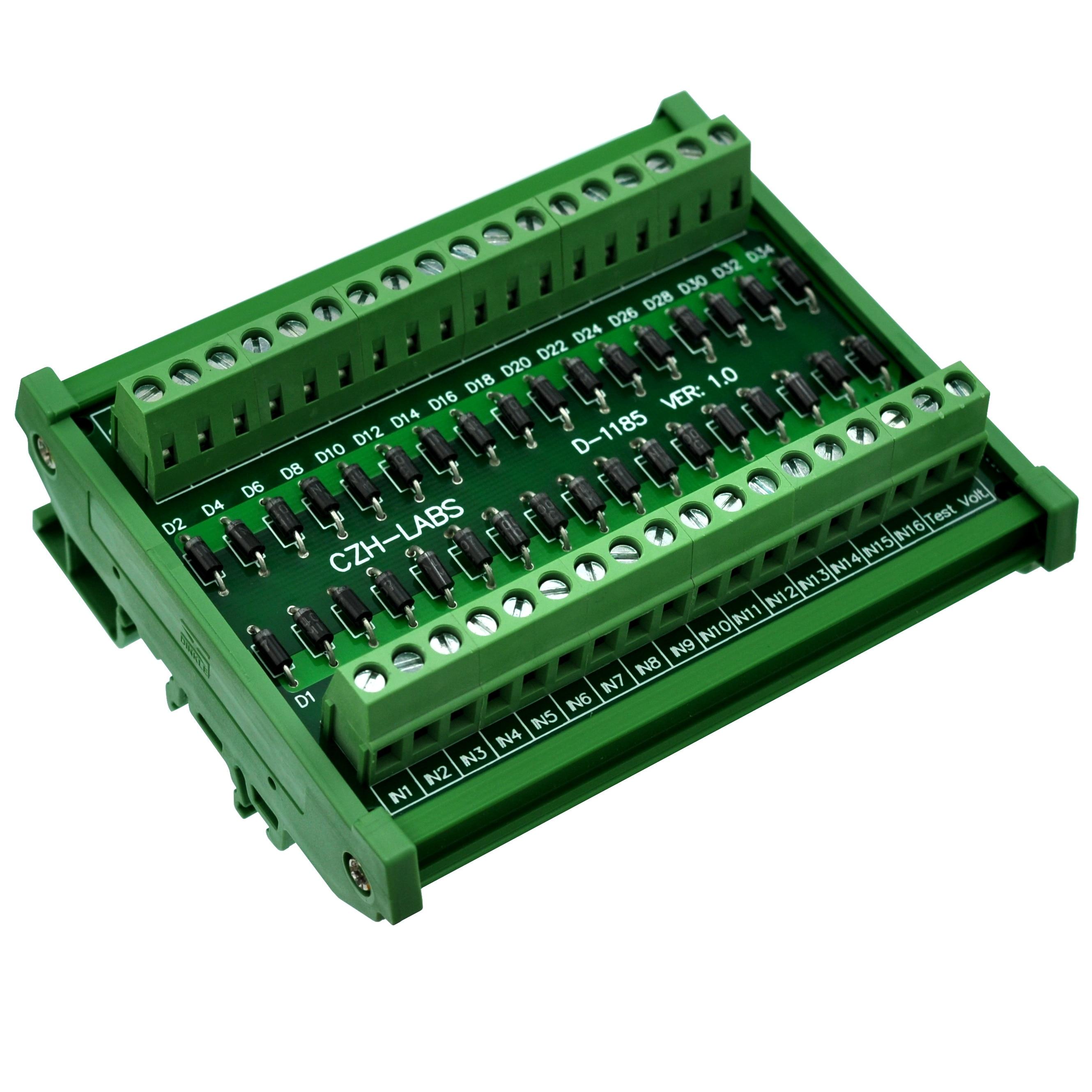 CZH-LABS DIN Rail Mount AC Lamp Test Diode Module, 16 Channels.