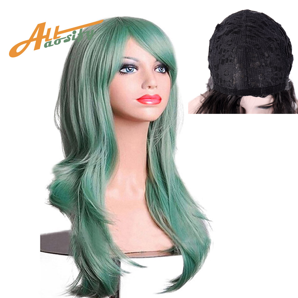 Allaosify Green Orange Pink Wigs High Temperature Soft Bulk Hair Long Wavy Big Wave Hair Synthetic Wig Cosplay Wigs With Bangs