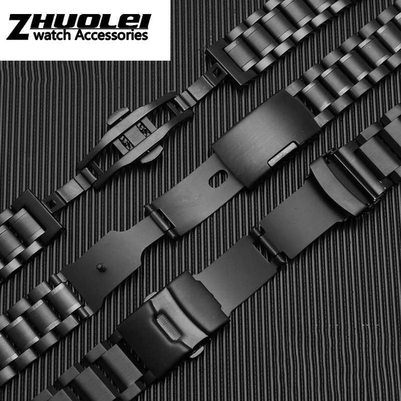 Per Samsung Gear S2/S3 Cinturino Huawei Orologio 2 Nero di Alta Qualità in Acciaio Inox Wristband 20 Millimetri 22 Millimetri di Lusso Del Metallo Del Braccialetto