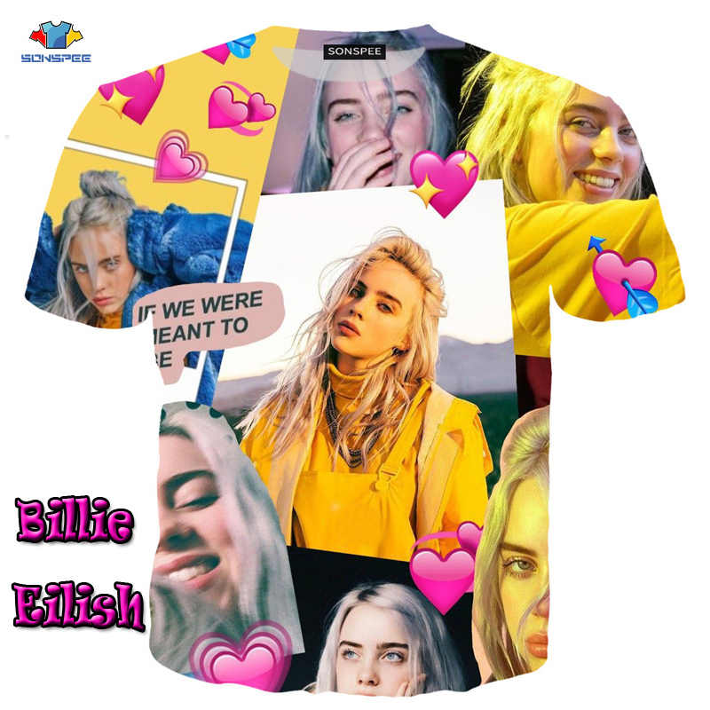SONSPEE Summer Star Short Sleeve Billie Eilish T-Shirt  Fashion Trend Beauty T-Shirt  Multi-Element Funny Blouse Locomotive Tops