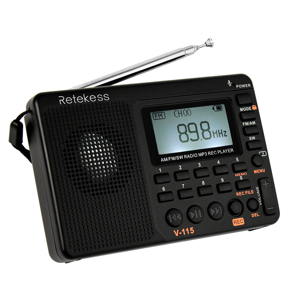 Radio FM/AM/SW Multiband Radio Receiver REC Recorder Bass Sound MP3 Player Speakers with Sleep Timer orologio delle forze speciali