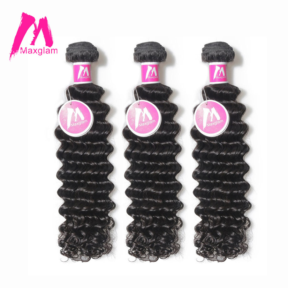 Maxglam Human Hair Bundles Deep Wave Brazilian Hair Weave Bundles Remy Hair Extension 3 Bundles Deal Free Shipping