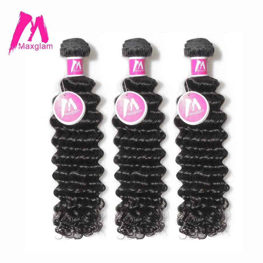 Maxglam Human Hair Bundles Deep Wave Brazilian Hair Weave Bundles Remy Hair Extension 3 Bundles Deal Free Shipping-in 3/4 Bundles from Hair Extensions & Wigs    1