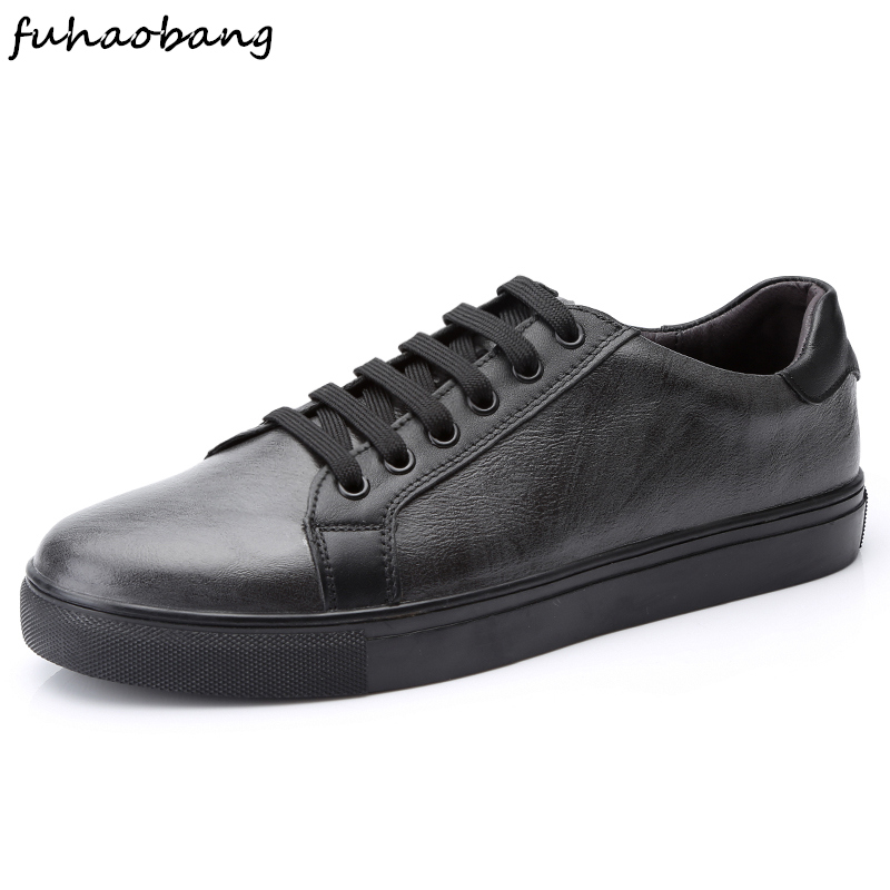 White Men Casual Shoes Genuine Leather Flats Sneakers Lace Up Fashion Male Comfortable Classic Style Walking Shoes Big Size 47