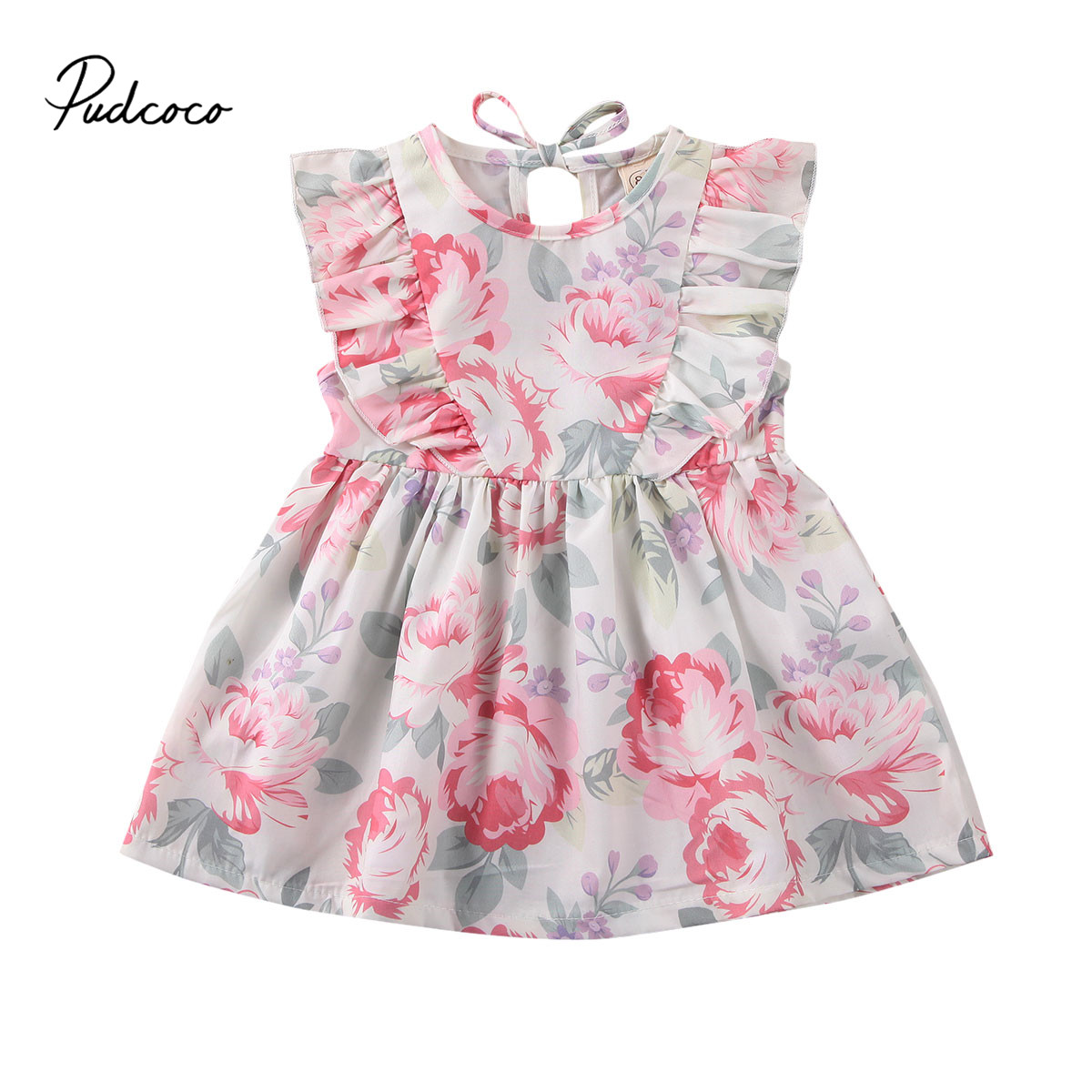 Pudcoco Toddler Baby Girl Floral Dress Kids Summer Clothes Ruffle Sleeve Flower Vestidos Holiday Sundress