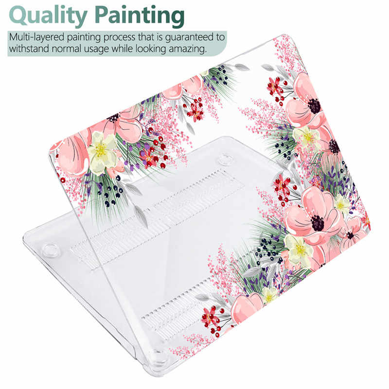 Hard Crystal Bloemen Case Voor Macbook Air 12/Air 13 2020 A1932 Retina Pro 13.3 15 16 Touch Bar a2289 Bloemen Laptop Sleeve Case