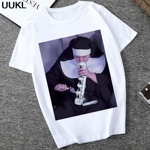 UUKL Shirts Women 2020 Summer Fashion White T Shirt Harajuku Nuns Smoking Fun Tshirt Leisure Vintage Grunge Female T-shirt Tops